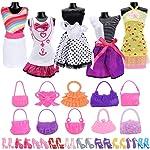 Asiv 25Pcs Doll Clothes Set for Barbie Dolls, 5 Pcs Handmade Dress + 10 Pairs of Shoes +10 Pcs Handbag Accessories, Xmas...