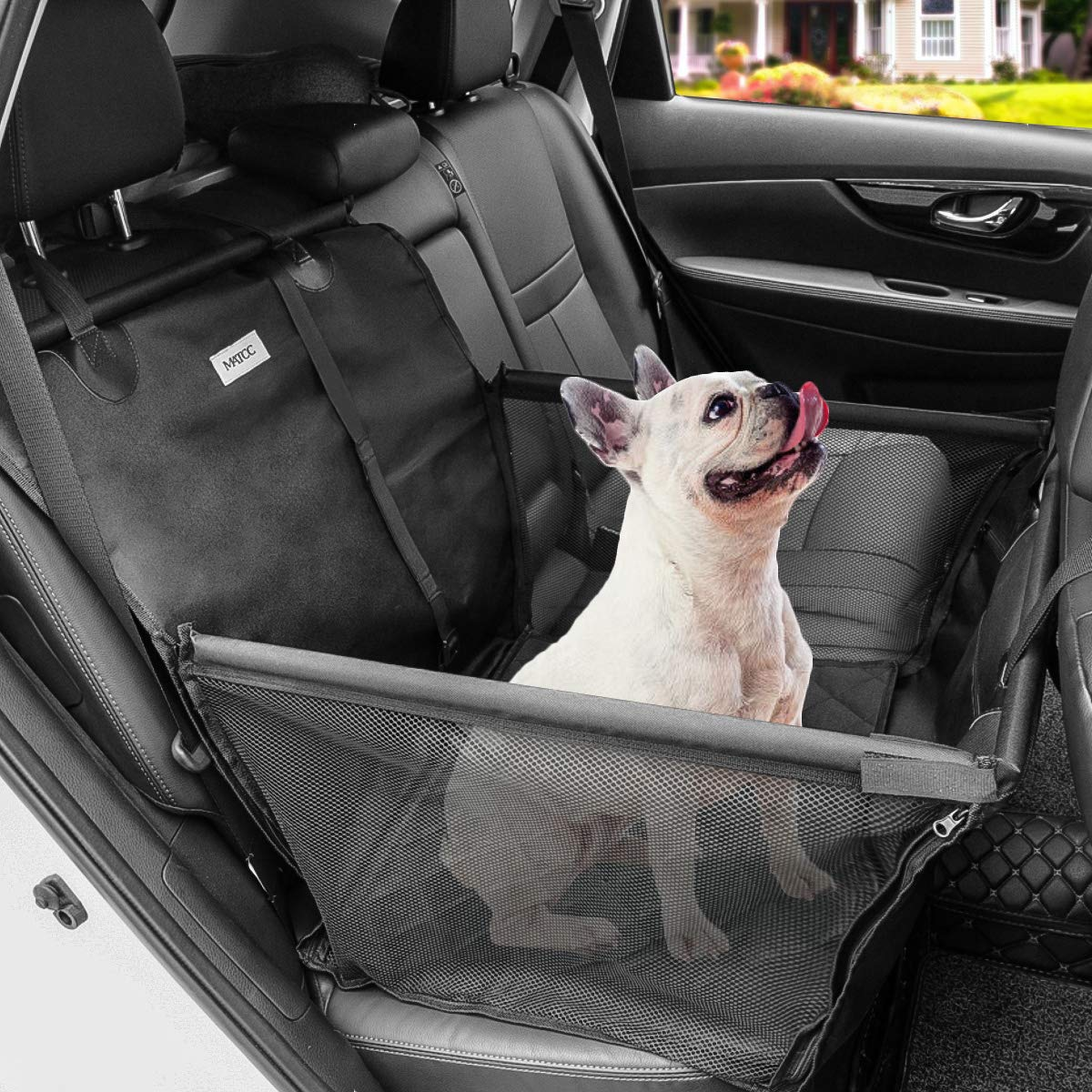 MATCC Dog Car Seat Covers Rear Car Booster Protector for Dogs with Dog Seat Belt Waterproof Nonslip Portable Dog Travel Hammock with Extra Storage Bag for Puppies and Medium Dogs