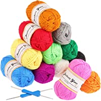 Premium Acrylgarn 12 Farben Fuyit Handstrickgarn Häkelgarn Acryl zum Stricken Häkeln 50g pro Farben