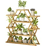 Flower Stand Plant Pot Display Stand Rack Multi Functional Bamboo Storage Shelf Large Capacity Sturdy for Indoor Outdoor Yard