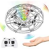 Baztoy UFO Mini Drone, RC Helicopteros Teledirigidos & Control de Mano de 360° Rotación con Luces LED, Juguete Volador Mini D