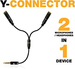 Y-Connector | Audio Signal Splitter Cable for Lavalier Microphone/Headset/Headphones, 3.5mm TRRS Male to 2 Port Female Jacks| Connector Devices iPhone, iPad, iPod, Android, PC, MP3 by PowerDeWise