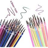 GRANDLIN Lot de 120 recharges d'encre gel de couleur lisse à paillettes pour stylos à bille à pointe fine