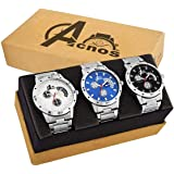 Acnos Black White and Blue Dial Analogue Watches for Men Pack of - 3(101-3 Color)