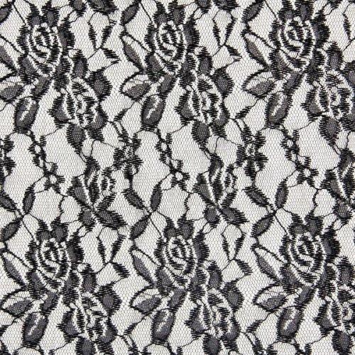 Fabulous Fabrics Spitze Leicht schwarz - Meterware ab 0,5m - zum Nähen von Abendkleidung, Blusen und Tops (Spitzen-tischläufer Schwarz)