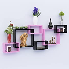 Onlineshoppee Intersecting Wooden Wall Shelves Set of 6   Pink   Black