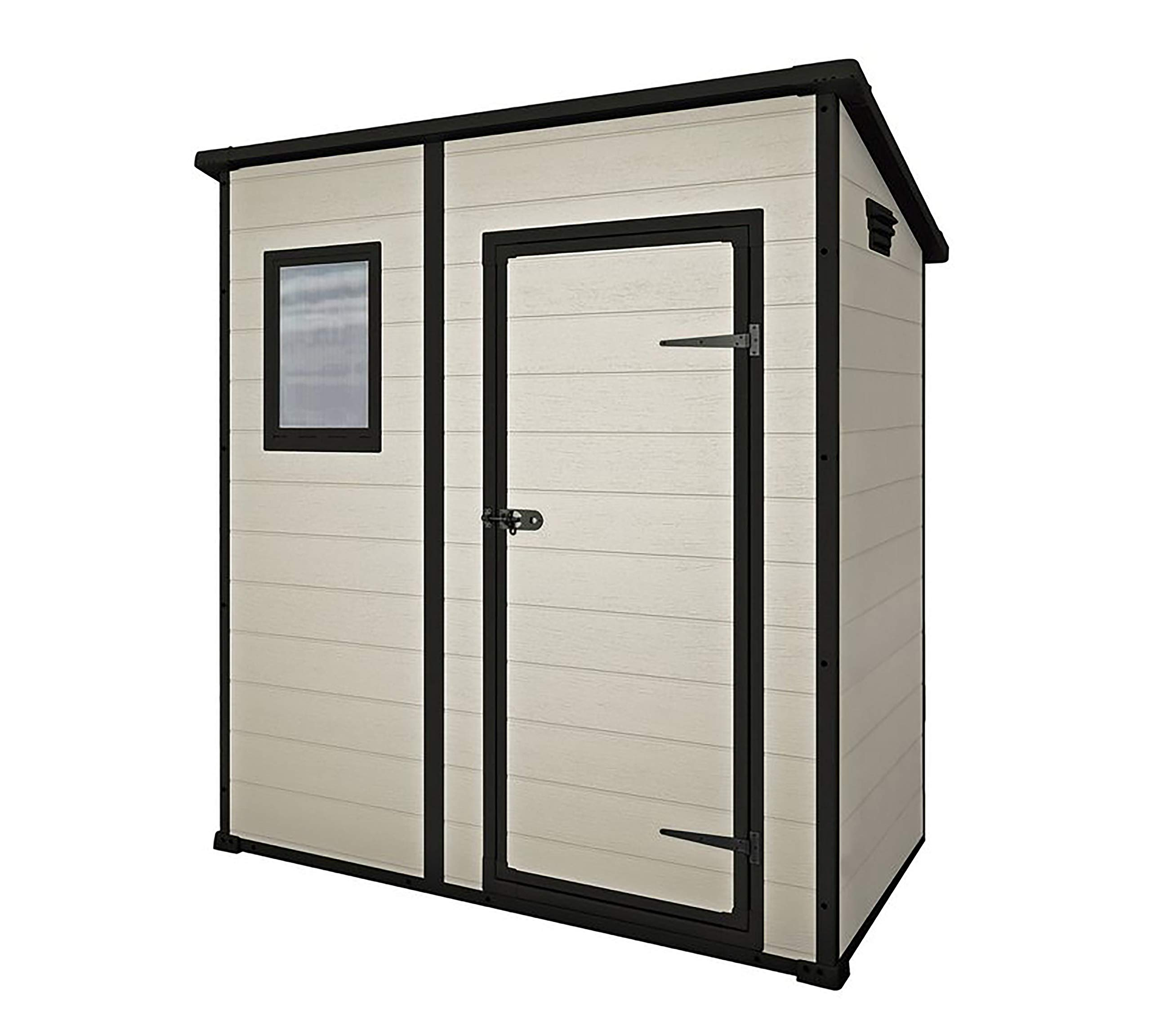 Keter Manor Pent Outdoor Plastic Garden Storage Shed, Beige/Brown, 6 x 4 ft