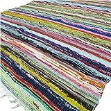 Tapis chindi indien - Fait à la main avec des bouts de tissu multicolores recyclés - Tapis décoratif style Boho - 150 x 90 cm (Green)...
