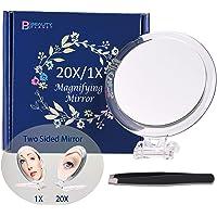 Specchio su due lati, ingrandimento 20X/1X, specchio pieghevole per il trucco con supporto portatile, uso per…