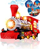 Techhark® Bubble Blowing Toy Train Constant Motion & Automatic Change of Direction Powered Steam Bubbles Locomotive Engine Car- Colorful Lights & Fun Sounds -