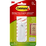 Command 17040ES Sawtooth Picture Hanger with Water Resistant Strips, Holds 1.8 Kg each hook, white color. 1 hook and 2 strips