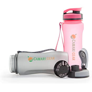 Camari Gear Sports Water Bottle - 600ml - 20oz - Eco Friendly & Non Toxic BPA-Free Tritan Plastic - For Running, Gym, Yoga, Hiking, Cycling, Outdoors and Camping - Fast Water Flow, Flip Top, Opens With 1-Click - Reusable with Leak-proof Lid