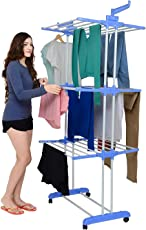 GTC 2 Poll Jumbo 3 Layer Heavy Duty Powder Coated Double Pole Fold able Cloth Dryer/Clothes Drying Stand/Clothes Hanger Rack (Blue)