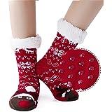 AIDEAONE Ladies Christmas Knit Slipper Sock Furry Fleece Lined Calzini morbidi non scivolanti