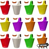 Techhark® Pack of 10 + 2 Free Wall Hanging Planter Pot for Indoor Plants Pot, Railing Flower Pot and Balcony Railing Vertical