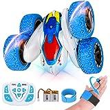RXYYOS Macchina Telecomandata per Bambini 4WD 360° Rotazione RC Stunt Car con Luci 2 Batteria Ricaricabile USB Gesto e Auto T