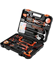 FAB Innovations 82 Pcs DIY Household Hand Tool Box with Screwdrivers Pliers Wrenches Hammer Saw Tool Kit Home Tool Set for Home Office Shed Garage Bike Car Electronics Test Repair Maintenance