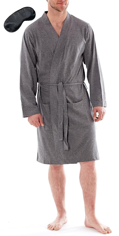 Harvey James Mens Lightweight Wrap Dressing Gown with Black Eye ...