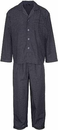 Mens Champion Checked Design Long Cotton Pyjama Sleepwear Nightwear (Navy) XL