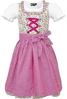 inkl MADDOX Alpenfeeling Kinderdirndl Jugenddirndl Teeniedirndl Zermatt Pink Rosa Trachtenset 3tlg Größe 104-176 Schürze und Bluse