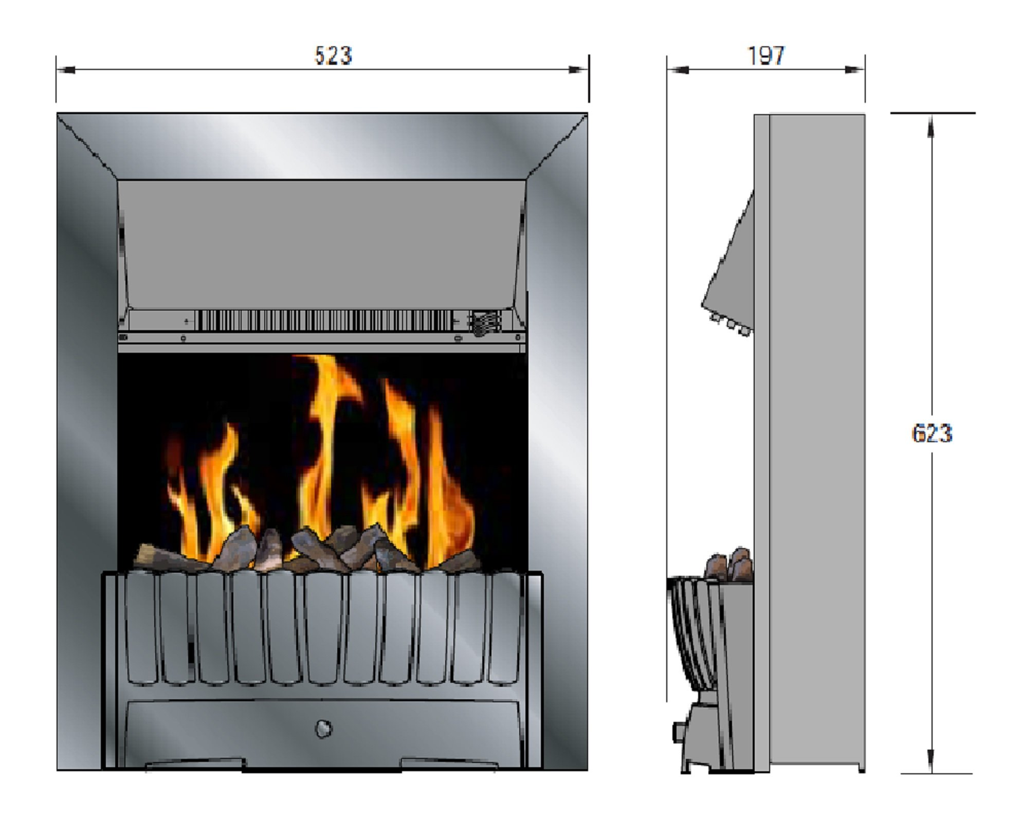 7170ZL1VLJL - Dimplex CMT20 Clement Electric Inset Fire with Optiflame Effect, 2 Kw, 230 W