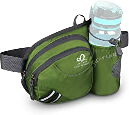 WATERFLY Waist Bag with Water Bottle Holder Durable Unisex Outdoor Waist Fanny Pack Riding Climbing Hiking Dog Walking Waist Pouch