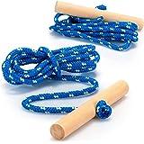 com-four® ¡2X Cuerda de Trineo con Mango de Madera, Accesorios de Trineo Cuerda de Tiro para Trineo, Triciclo u Otros vehícul