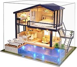 DIY Puppenhaus Holz Puppenvilla Möbel Dollhouse Zeit Wohnung mit LED Licht für Mädchen Weihnachtsgeschenk, Hauptdekoration