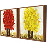 Painting Mantra Red & Yellow Floral Print Framed Canvas Painting Set of 2 Wall Art Print -13x13 inchs