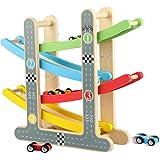 jacootoys Piste de Course en Bois Rampe Racer avec 4 Mini Voitures Jouets pour Tout-Petits de 1 à 2 Ans Garçons Fille Cadeaux