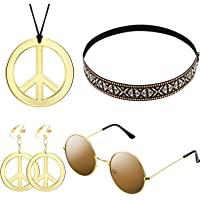 WILLBOND Hippie Kostüm Satz für Damen und Herren mit Sonnenbrille, Frieden Zeichen Halskette und Frieden Zeichen Ohrring…