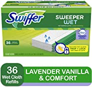 Swiffer Sweeper Wet Mop Refills for Floor Mopping and Cleaning, All Purpose Floor Cleaning Product, Lavender Vanilla and Comf