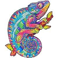 Puzzle en Bois de 156 Pièces (CaméLéon Irisé), Meilleur Cadeau Pour Adultes et Enfants - Puzzles Animaux Colorés…