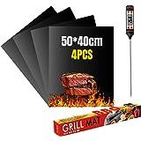 VLVEE Set de 4 Tapis de Cuisson Tapis BBQ Barbecue Plaque Feuille de Cuisson Four,Réutilisable Nettoyable, 40 * 50cm pour Bar