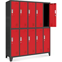 Jan Nowak by Domator24 Casier vestiaire 5B2A armoire metallique 18 Compartiments revêtement en poudre 172 cm x 136 cm x…
