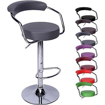 CCLIFE 1 2 Tabouret de bar réglable et pivotant - Tabouret cuisine avec repose  pieds et dossier ergonomique (choix de 7 couleurs), Couleur Gris, ... c4ce77a398f6