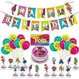 Decoración Globos de Fiesta - Tomicy 36 Pcs Feliz cumpleaños Conjunto de pancartas Troll Papel de Aluminio Globo Látex Confet
