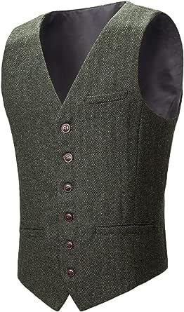 BOTVELA Men's Slim Fit Herringbone Tweed Waistcoat Full Back Wool Blend Suit Vest