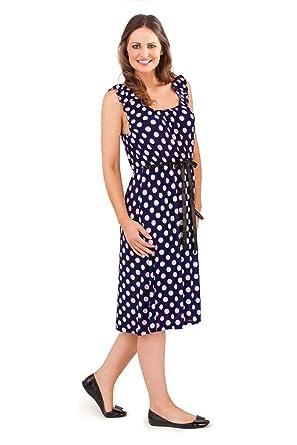 Lora Dora Womens Polka Dot Mid Knee Length Summer Dress Spot ...