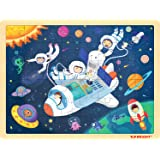 TOP BRIGHT 48 Pièces Puzzles en Bois pour Enfant de 4 Ans 5 Ans, Jigsaw Puzzles Fusée pour Garçon et Fille de 6 7 8 Ans