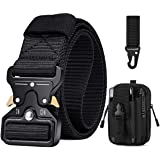 BESTKEE Men Tactical Belt 1.5 Inch Heavy Duty Belt, Nylon Military Belt with Quick-Release Metal Buckle, Gift with Tactical M