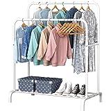 YAYI Porte-Vêtements en Métal Suspension Autoportante avec Double Pôle étagère de Rangement Blanc