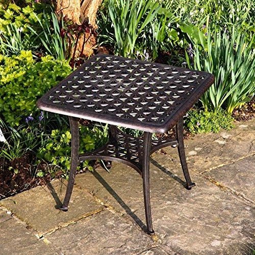 Lazy Susan – SANDRA Quadratischer Kaffeetisch mit 1 APRIL Gartenbank und 2 APRIL Stühlen – Gartenmöbel Set aus Metall, Antik Bronze - 2