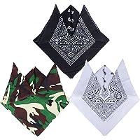 QUMAO (100% Cotone 3 pz Bandane Multicolori per Capelli al Collo in Testa Modelli di Paisley Bandana Uomo Sciarpa…