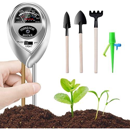 Tester per Il Suolo, 3 in 1 Tester per misuratore di umidità/Luce/PH dell'acidità delle Piante, igrometro per Il monitoraggio dell'Acqua del Suolo per la Cura del Giardino with Strumenti per Bonsai