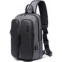 OZUKO Casual Sling Bag, Sac de Poitrine Homme Sac d'Epaule Sacs À Bandoulière Imperméable avec Chargement USB pour…