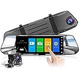 【2021 Nuova Versione】CHORTAU Telecamera per Auto da 7 pollici Touchscreen Full HD 1080P, Telecamera Grandangolare Anteriore e