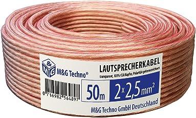 M&G Techno® Germany 50m 2x2,5mm² CCA LAUTSPRECHERKABEL mit Polaritätskennzeichnung