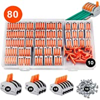 KINDPMA 50Pcs Lever Nut Electrical Connectors Lever Compact Wire Connectors with Spring Push Wire Connectors Assortment Conductors Quick Connector Cable Clamp 2 Port 3 Port 5 Port