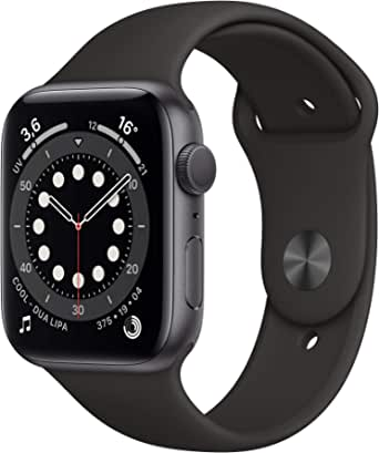 AppleWatch Series6 (GPS, 44 mm) Boîtier en Aluminium Grissidéral, BraceletSport Noir